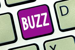 Word writing text Buzz. Business concept for Move quickly Atmosphere of excitement and activity Rumor Telephone call.  royalty free stock images
