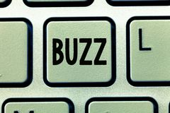 Word writing text Buzz. Business concept for Move quickly Atmosphere of excitement and activity Rumor Telephone call.  stock photo