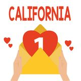 Word writing text California. Business concept for State on west coast United States of America Beaches Hollywood.  royalty free illustration