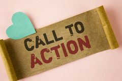 Word writing text Call To Action. Business concept for most important part of online digital marketing campaign written on Folded Stock Photos
