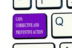 Word writing text Capa Corrective And Preventive Action. Business concept for Elimination of nonconformities.  stock photos