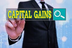 Word writing text Capital Gains. Business concept for Bonds Shares Stocks Profit Income Tax Investment Funds