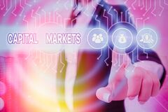 Word writing text Capital Markets. Business concept for Allow businesses to raise funds by providing market security