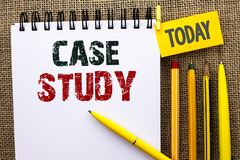 Word writing text Case Study. Business concept for Research Information Analysis Observe Learn Discuss Criteria written on Noteboo. Word writing text Case Study Stock Image