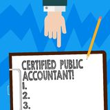 Word writing text Certified Public Accountant. Business concept for accredited professional body of accountants Hu analysis Hand. Pointing Down to Clipboard vector illustration