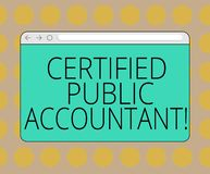 Word writing text Certified Public Accountant. Business concept for accredited professional body of accountants Monitor. Screen with Forward Backward Progress stock illustration