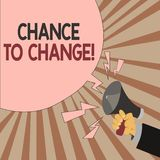 Word writing text Chance To Change. Business concept for The opportunity for transformation New Business Ideas.  royalty free illustration