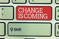 Word writing text Change Is Coming. Business concept for telling someone that future going to be different.  stock image