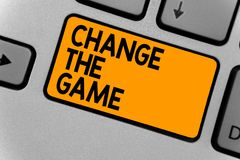 Word writing text Change The Game. Business concept for Make a movement do something different new strategies Keyboard orange key. Intention create computer royalty free stock photos