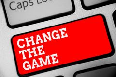 Word writing text Change The Game. Business concept for Make a movement do something different new strategies Keyboard red key Int. Ention create computer royalty free stock photo