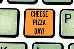 Word writing text Cheese Pizza Day. Business concept for date started Greeks covered bread with oils herb and cheese stock illustration