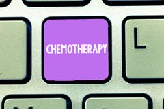 Word writing text Chemotherapy. Business concept for Effective way of treating cancerous tissues in the body stock images
