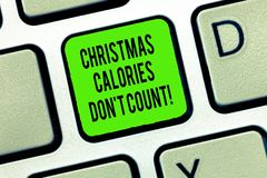 Word writing text Christmas Calories Don T Count. Business concept for Eat whatever you want in holiday seasons Keyboard. Key Intention to create computer royalty free stock photos
