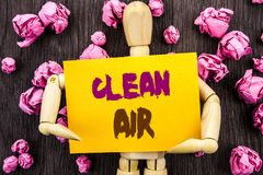 Word, writing, text  Clean Air. Conceptual photo Global Environmental Health For Industry Pollution written on Sticky Note Holding Stock Photos