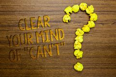 Word writing text Clear Your Mind Of Can t not. Business concept for Have a positive attitude thinking motivation Wooden floor wit. H some letters yellow paper Royalty Free Stock Image