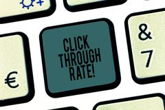 Word writing text Click Through Rate. Business concept for proportion of visitors who follow link to particular site. Keyboard key Intention to create computer stock image