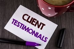 Word writing text Client Testimonials. Business concept for Customer Personal Experiences Reviews Opinions Feedback written on Whi. Word writing text Client Stock Photo