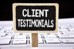 Word writing text Client Testimonials. Business concept for Customer Personal Experiences Reviews Opinions Feedback written on Woo. Word writing text Client Stock Photo