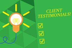 Word writing text Client Testimonials. Business concept for Written Declaration Certifying demonstratings Character. Word writing text Client Testimonials royalty free illustration