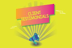 Word writing text Client Testimonials. Business concept for Written Declaration Certifying persons Character Value.  stock illustration