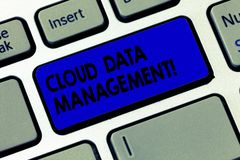 Word writing text Cloud Data Management. Business concept for A technique to analysisage data across cloud platforms. Keyboard key Intention to create computer royalty free stock images