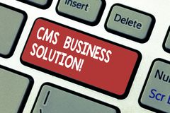 Word writing text Cms Business Solution. Business concept for software application use to create and analysisage website. Keyboard key Intention to create royalty free stock image