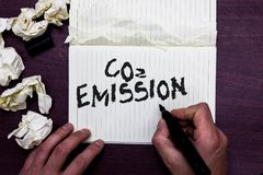 Word writing text Co2 Emission. Business concept for Releasing of greenhouse gases into the atmosphere over time Man holding marke. R notebook page crumpled stock photography