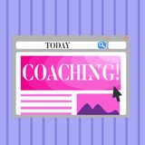 Word writing text Coaching. Business concept for Prepare Enlightened Cultivate Sharpening Encourage Strenghten Blank. Word writing text Coaching. Business photo stock illustration