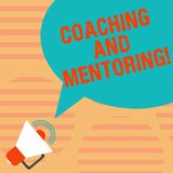 Word writing text Coaching And Mentoring. Business concept for capacity development process to achieve goals Megaphone. With Sound Volume Icon and Blank Color royalty free illustration