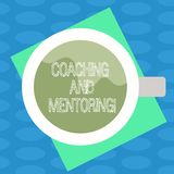 Word writing text Coaching And Mentoring. Business concept for capacity development process to achieve goals Top View of. Drinking Cup Filled with Beverage on vector illustration