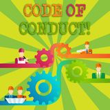 Word writing text Code Of Conduct. Business concept for Follow principles and standards for business integrity Cog Gear. Word writing text Code Of Conduct royalty free illustration