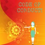 Word writing text Code Of Conduct. Business concept for Follow principles and standards for business integrity Woman. Word writing text Code Of Conduct. Business stock illustration