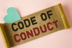 Word writing text Code Of Conduct. Business concept for Follow principles and standards for business integrity written on Folded C stock image