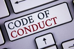 Word writing text Code Of Conduct. Business concept for Follow principles and standards for business integrity written on White Ke
