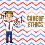 Word writing text Code Of Ethics. Business concept for basic guide for professional conduct and imposes duties Man. Word writing text Code Of Ethics. Business stock illustration
