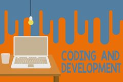 Word writing text Coding And Development. Business concept for Programming Building simple assembly Programs Front view