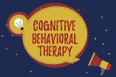 Word writing text Cognitive Behavioral Therapy. Business concept for Psychological treatment for mental disorders.  royalty free illustration