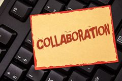 Word writing text Collaboration. Business concept for Global industries partnership with teamwork to help others win written on St stock images