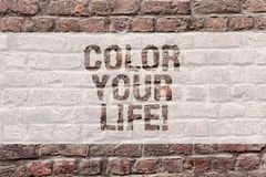 Word writing text Color Your Life. Business concept for Make your days colorful be cheerful motivated inspired Brick Wall art like. Graffiti motivational call vector illustration
