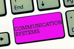 Word writing text Communication Systems. Business concept for Flow of Information use of Machine to transmit signals.  royalty free stock photos