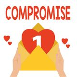 Word writing text Compromise. Business concept for Come to agreement by mutual concession Give Reveal Expose.  vector illustration