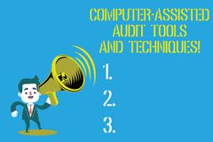 Word writing text Computer Assisted Audit Tools And Techniques. Business concept for Modern auditing applications Man in. Suit Earpad Standing Moving Holding a royalty free illustration