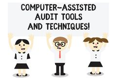 Word writing text Computer Assisted Audit Tools And Techniques. Business concept for Modern auditing applications Three. School Kids with both Arms Raising stock illustration