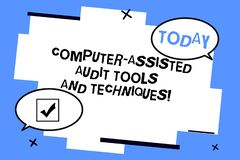 Word writing text Computer Assisted Audit Tools And Techniques. Business concept for Modern auditing applications Two. Blank Oval speech bubble at distance and royalty free illustration