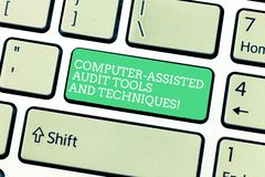 Word writing text Computer Assisted Audit Tools And Techniques. Business concept for Modern auditing applications. Keyboard key Intention to create computer royalty free illustration