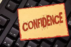 Word writing text Confidence. Business concept for Never ever doubting your worth, inspire and transform yourself written on Stick. Word writing text Confidence stock image