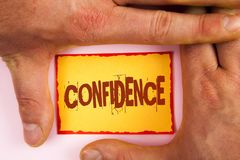 Word writing text Confidence. Business concept for Never ever doubting your worth, inspire and transform yourself written on Yello. Word writing text Confidence royalty free stock photography