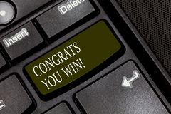Word writing text Congrats You Win. Business concept for Congratulations for your accomplish competition winner Keyboard. Key Intention to create computer royalty free stock photography