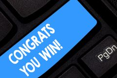 Word writing text Congrats You Win. Business concept for Congratulations for your accomplish competition winner Keyboard. Key Intention to create computer stock photo