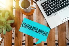Word writing text Congratulations. Business concept for a congratulatory expression usually used in plural form Paper